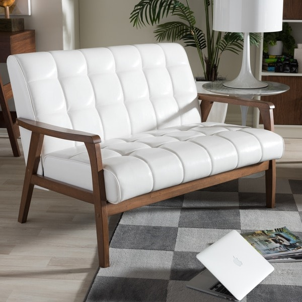 Baxton Studio Mid-century Masterpieces White Faux Leather Loveseat