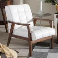 Carson Carrington Karkkila Mid Century White Faux Leather Chair