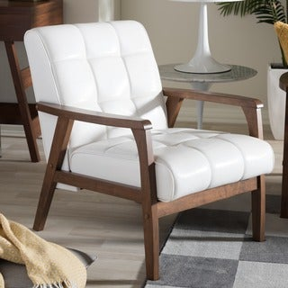 mid century white faux leather chair by baxton studio