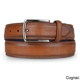 Nautica Men's Genuine Leather Double Stitched Belt