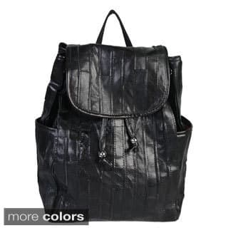 Mllecoco Leather Pleated Drawstring Backpack - L|https://ak1.ostkcdn.com/images/products/10167210/P17295362.jpg?impolicy=medium