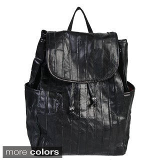 Mllecoco Leather Pleated Drawstring Backpack - L