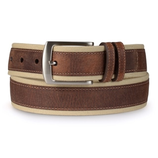 Nautica Men's Leather Overlay Canvas Casual Belt