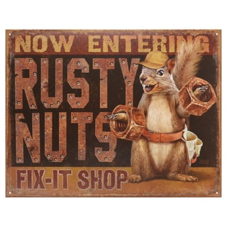 Vintage Metal Art 'Rusty Nuts Fix It Shop' Decorative Tin Sign