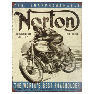 Vintage Metal Art 'Norton Winner' Decorative Tin Sign