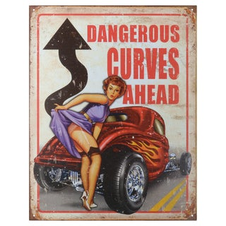 Vintage Metal Art 'Legends Dangerous Curves' Decorative Tin Sign