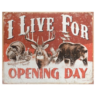 Vintage Metal Art 'Live for Opening Day' Decorative Tin Sign