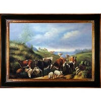 Arthur Fitzwilliam Tait 'Down the Road in Franklin County New York' Hand Painted Framed Canvas Art - Blue/Green