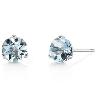 Oravo 14k White Gold Martini Style Round-cut Gemstone Stud Earrings