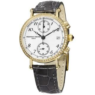 Frederique Constant Women's 'Classics' White Diamond Dial Grey Leather Strap Watch