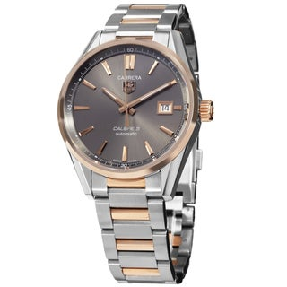 Tag Heuer Men's WAR215E.FC6336 'Carrera' 18kt Rose Gold Automatic Grey Alligator Leather Watch