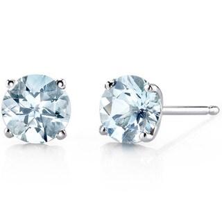 Oravo 14k White Gold Round-cut Gemstone Stud Earrings