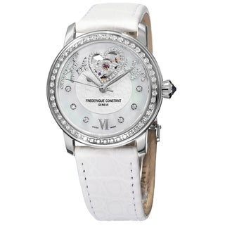 Frederique Constant Women's 'Ladies Automatic' Mother of Pearl Dial White Strap Automatic Watch