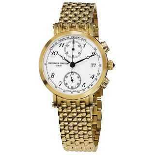 Frederique Constant Women's 'Classics' White Dial Yellow Goldtone Stainless Steel Watch - GOLD