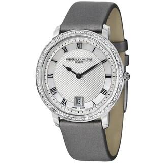 Frederique Constant Women's 'Slim Line' Silver Dial Grey Satin Strap Swiss Quartz Watch