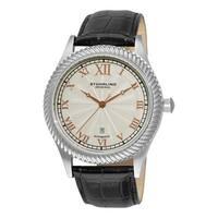 Stuhrling Original Men's Augustus Automatic Leather Strap Watch - silver