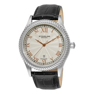 Stuhrling Original Men's Augustus Automatic Leather Strap Watch - silver