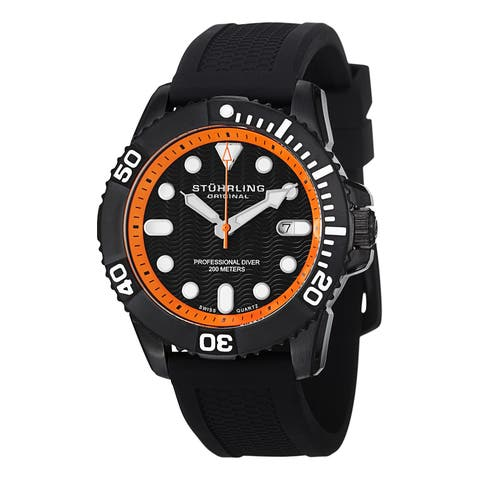 Stuhrling Original Men's Atlantis Sport Swiss Quartz Rubber Strap Watch - black