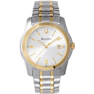 Link to Bulova Men's Dress  Silvertone Two-tone Stainless Steel Quartz Watch Similar Items in Men's Watches