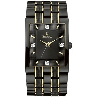 Bulova Men's Diamond 98D004 Black Two-tone Stainless Steel Quartz Watch