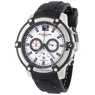 Stuhrling Original Men's Victory Quartz Chronograph Watch with Rubber Strap - silver