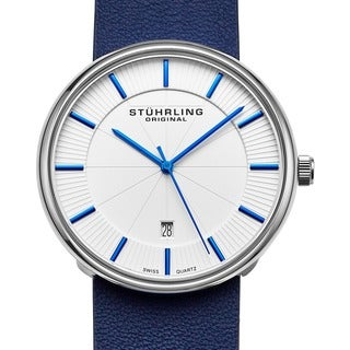 Stuhrling Original Men's Fairmount Swiss Quartz Leather Strap Watch