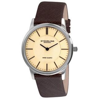 Stuhrling Original Men's Newberry Swiss Quartz Leather Strap Watch