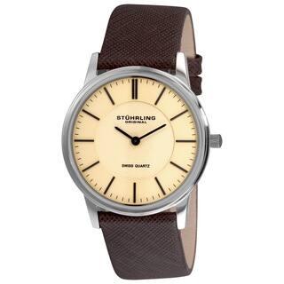 Stuhrling Original Men's Newberry Swiss Quartz Leather Strap Watch|https://ak1.ostkcdn.com/images/products/10167341/P17295430.jpg?impolicy=medium