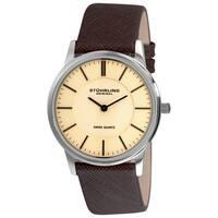 Stuhrling Original Men's Newberry Swiss Quartz Leather Strap Watch - silver