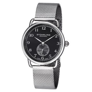Stuhrling Original Men's Classique 207M Swiss Quartz Stainless Steel Bracelet Watch - black