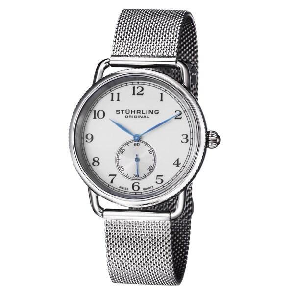 Stuhrling Original Men's Classique 207M Swiss Quartz Stainless Steel Bracelet Watch - WHITE