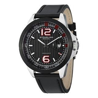 Stuhrling Original Men's Grand Concorso Swiss Quartz Leather Strap Watch - black
