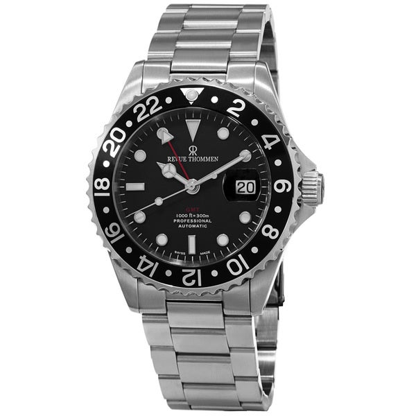 Revue Thommen Men's 'Diver' Black Dial Automatic Watch