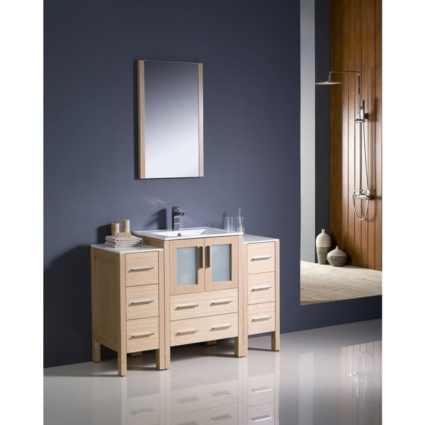 Shop Fresca Torino 48-inch Light Oak Modern Bathroom Vanity With 2 Side Cabinets And Undermount