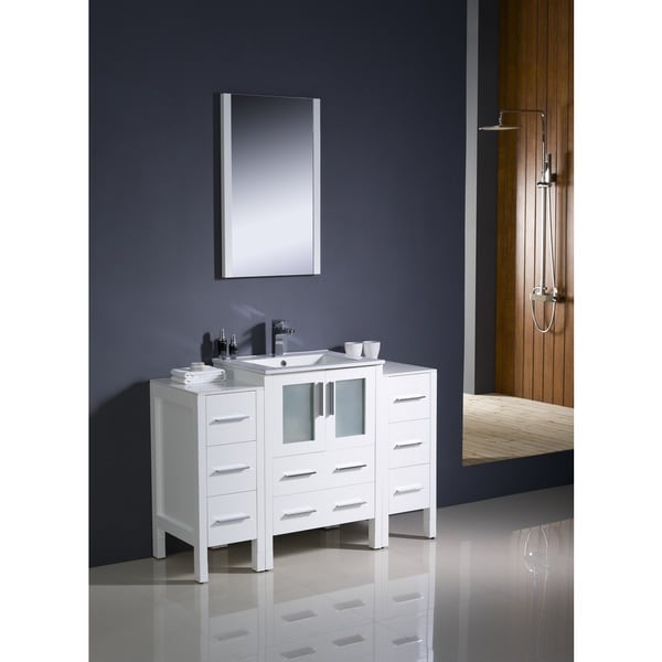 Fresca Torino 48 Inch White Modern Bathroom Vanity With 2 Side Cabinets And Undermount Sink