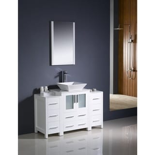Fresca Torino 48-inch White Modern Bathroom Vanity with 2 Side Cabinets and Vessel Sink