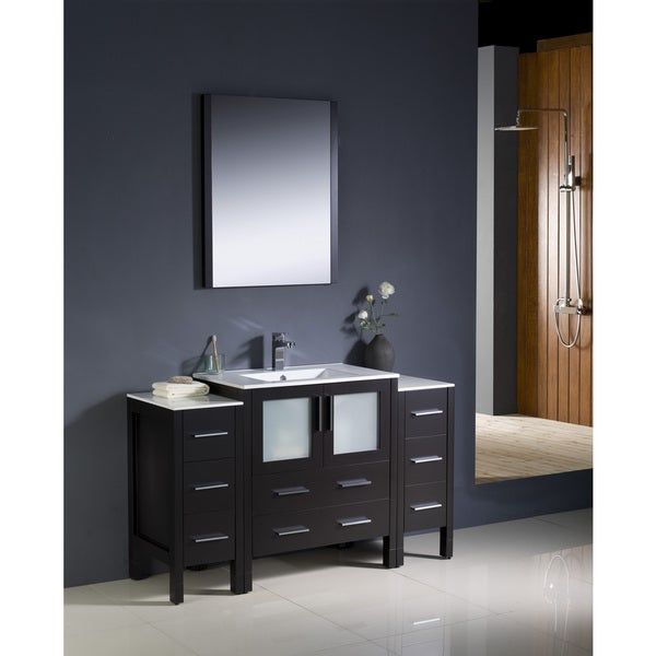 Shop fresca torino 54 inch espresso modern bathroom vanity with 2 side cabinets and undermount for 66 inch bathroom vanity cabinets