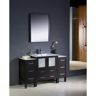 Fresca Torino 54-inch Espresso Modern Bathroom Vanity with 2 Side Cabinets and Undermount Sink
