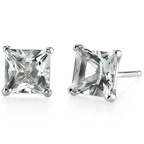 Oravo 14k White Gold Princess-cut Gemstone Stud Earrings
