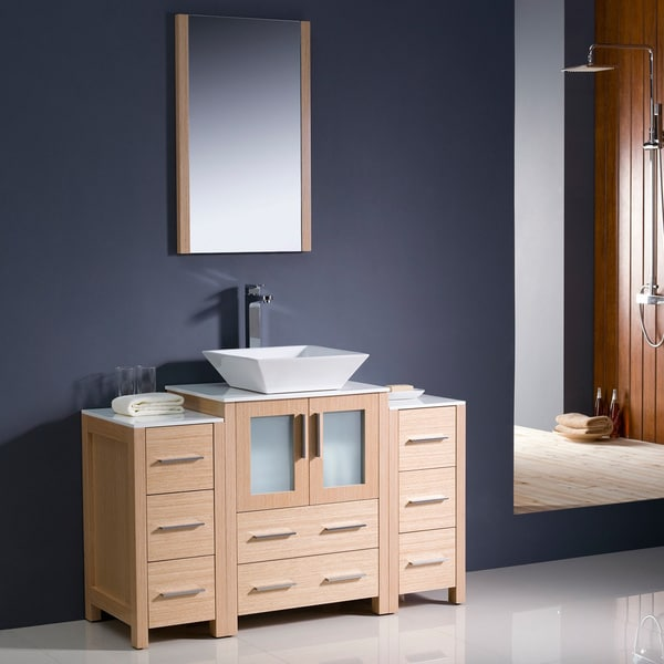 Shop Fresca Torino 48-inch Light Oak Modern Bathroom Vanity With 2 Side Cabinets And Vessel Sink