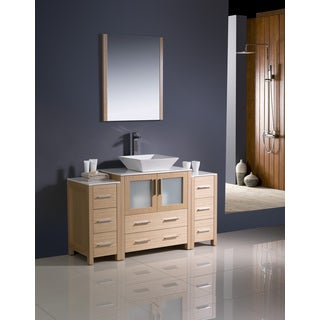 Fresca Torino 54-inch Light Oak Modern Bathroom Vanity with 2 Side Cabinets and Vessel Sink