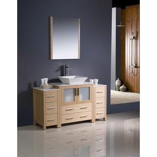 Fresca Torino 54-inch Light Oak Modern Bathroom Vanity with 2 Side Cabinets and Vessel Sink