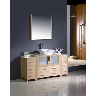 Fresca Torino 60-inch Light Oak Modern Bathroom Vanity with 2 Side Cabinets and Vessel Sink
