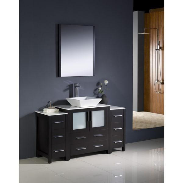 shop fresca torino 54 inch espresso modern bathroom vanity with 2 side cabinets and vessel sink. Black Bedroom Furniture Sets. Home Design Ideas