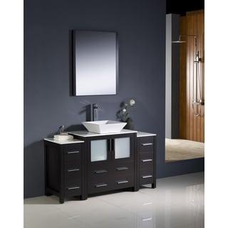 Fresca Torino 54-inch Espresso Modern Bathroom Vanity with 2 Side Cabinets and Vessel Sink