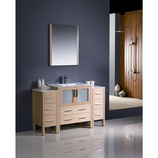 Fresca Torino 54 Inch Light Oak Modern Bathroom Vanity With 2 Side Cabinets And Undermount