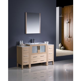 Fresca Torino 54-inch Light Oak Modern Bathroom Vanity with 2 Side Cabinets and Undermount Sink