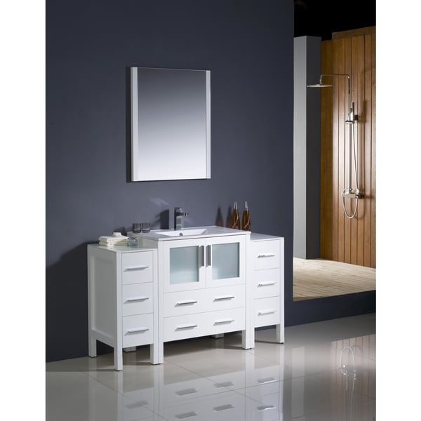 54 Inch Bathroom Vanity. Fresca Torino 54 Inch White Modern Bathroom Vanity With 2 Side Cabinets And Undermount Sink