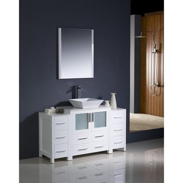 shop fresca torino 54 inch white modern bathroom vanity with 2 side cabinets and vessel sink. Black Bedroom Furniture Sets. Home Design Ideas
