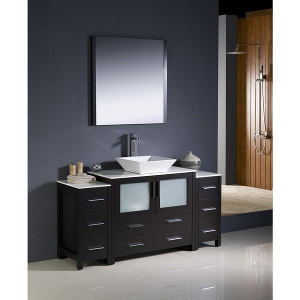 espresso modern bathroom vanity with 2 side cabinets and vessel sink